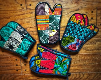 African Patchwork Oven Mitts