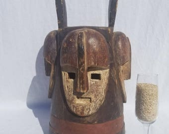 TRIBAL EXOTICS : PREMIUM Authentic fine tribal African Art - Fang Mpangwe Pangwe Ngontang Wood Mask Figure Sculpture Statue
