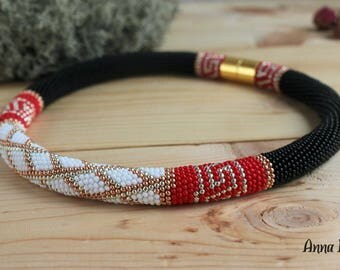 Beaded necklace Beadcrochet rope necklace