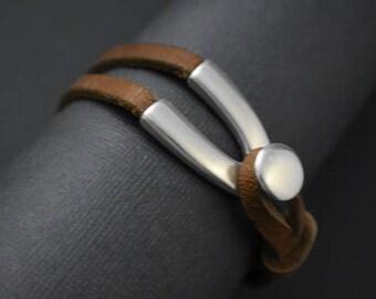 Men's Cuff bracelet old silver unique V hook clasp