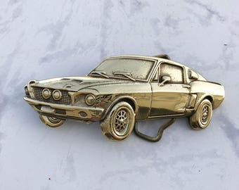 Vintage Men's Belt Buckle Car Solid Brass 1980 Baron Buckle