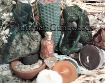 Prosperity Ritual Kit: Carnelian, Citrine Crystal, Candles, Herbal Sachet, Resin