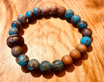Turquoise and Sandalwood Mala Bracelet