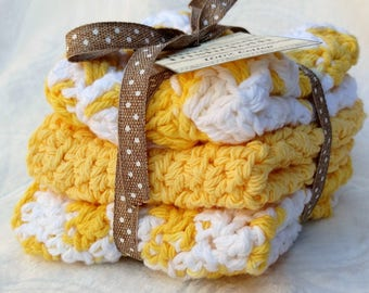 Crochet Cotton Dishcloth gift set of 3, yellow and white