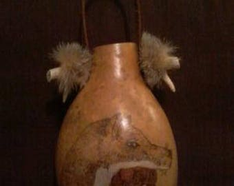 Gourd Jug with Native American design
