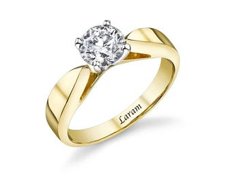 14k Yellow Gold 1.00 carat  cubic zirconia Engagement  Ring