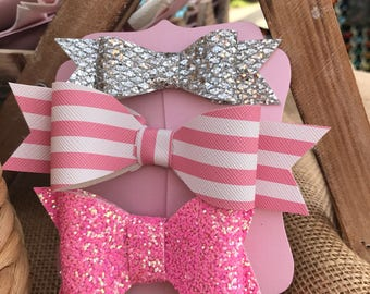 Pink Silver Glitter Bow Set of 3 bows