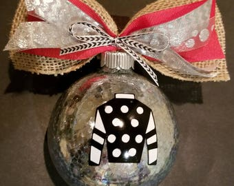 Christmas Ornament - Jockey Silks and coordinating Bow