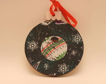 Wooden Death Star Christmas Ornament