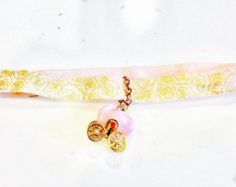 Pink and gold princess choker necklace