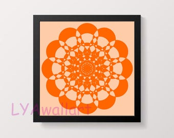 Orange Wall Art Geometric Printable