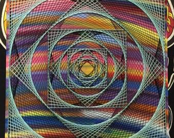 Chaotic Vortex - String Art w/ Spray Paint Background