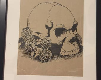 Skull and Mums (framed)