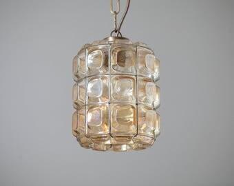 Vintage Glass pendant lamp 50s 60s Glashütte Limburg 2/2 mid century glass pendant lamp 50s 60s