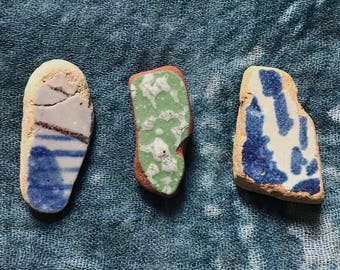 Mediterranean colored sea pottery, Genuine beach pottery, 3 pieces from Italy. Nice for Jewelry making, Mosaics or Home Beach Decoration.