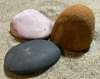 Natural and Minimalist Home Decor, Sea Stone Set - Colored Decorative Rocks, Pink, Black and Sand Stone, for Beach decor or Aquarium