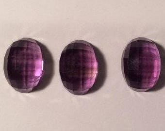 Amethyst, One piece - Faceted Top cabochon, Clean, excellent polish, 14 x 10, Transparent violet color
