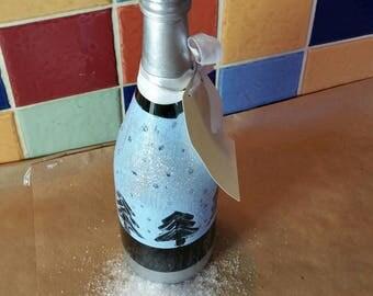 Blue snow upcycle wine bottle candlestick holder
