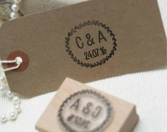 Initials And Date Wreath  Custom Rubber Stamp, Wedding Stamp