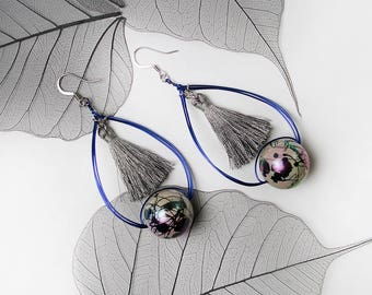 Ecliptic Blue Wire Silk Tassels Statement Fashion Earrings Party Special Occasion Cosplay