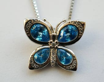 DEPHINI™ Butterfly Necklace for women | Light blue cubic zirconia crystals | 925 Sterling Silver Fine Jewellery Blue Pendant Gift for women