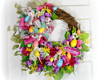 Front Door Wreath, Spring Wreath, Easter Wreath, floral Wreath, Grapevine wreath, Welcome wreath, Entryway Wreath, Everyday Wreath