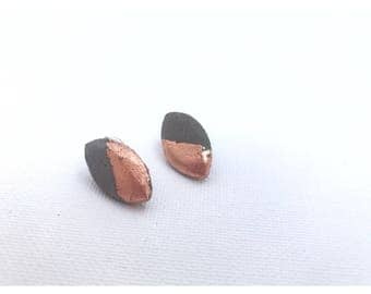 Copper foiled concrete marquise earrings