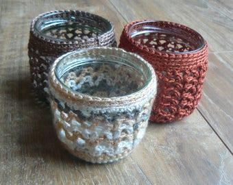 Set of three jars (vases, candle holders, decor)