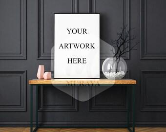Modern frame mock-up, Portrait frame mock-up, Thin black frame, Dark interior, Sophisticated design, table frame mock-up, Clean interior