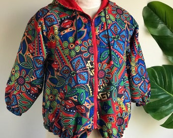 Vintage 90's Colorful Hoodie Jacket Nylon
