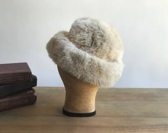 Vintage Beige Faux Fur Russian Hat Winter Faux Fur Hat