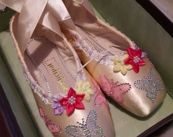 Butterfly - Decorated on Never Worn Ballet Pointe Shoes