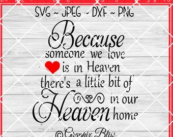 Because Someone We Love Is In Heaven  There's A Little Bit In Our Home Cutting File Digital Download svg dxf jpeg png Not A Physical Product