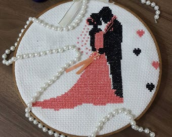 Cross-stitch Embroidered Wedding Picture