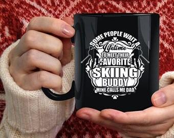 My Favorite Skiing Buddy Coffee Mug, Mine Calls Me Dad Coffee Cup