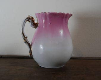 Shabby Chic Pink, White, and Gold Pitcher