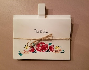 "4 pack hand painted ""Thank you"" cards. 4"" by 5.5"""