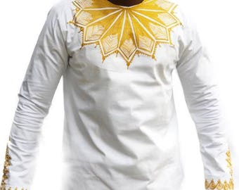 Odeneho Wear Mens White Polished Cotton Top and down with Gold Embroidered Design African Clothing