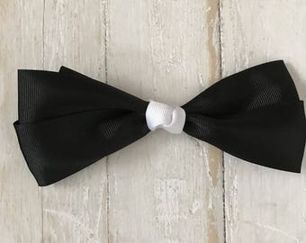 5 1/2 Inch Black and White Skinny Hair Bow