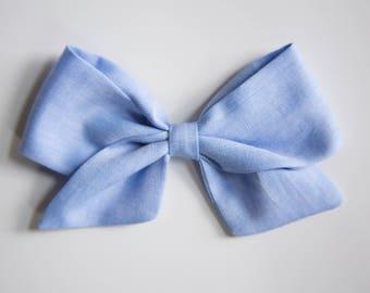 Large & Extra Large Blue Herringbone Schoolgirl Bow on Headband or Clip