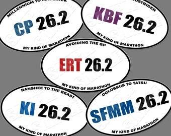 Thrills 26.2 Set of 5 Oval Magnets 5X3 (ERT, Magic Mountain, Knotts, Kings Island, Cedar Point, Inspired, Marathon Spoof Style Magnet)