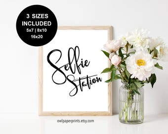 Selfie Station Sign - Printable PDF, Signs, Print, Printables, photo, Photography, wedding, event, party