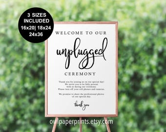 Unplugged Ceremony Sign - Printable PDF, no cellphones, phones off, wedding sign, poster sized
