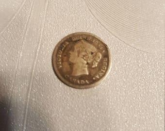 1881 Canada Silver 5 cent coin
