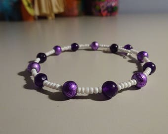 White and Purple Memory Wire Bracelet