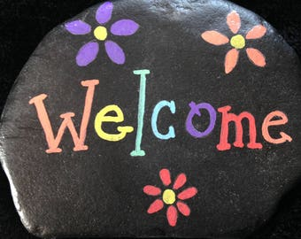 Welcome hand painted river rock