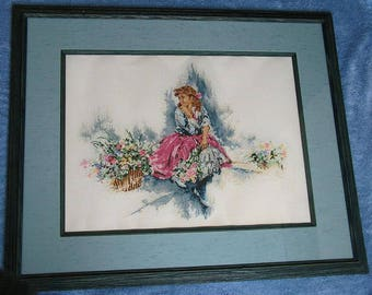 """Needlepoint Framed Girl with Flowers - (29"""" x 23"""")"""