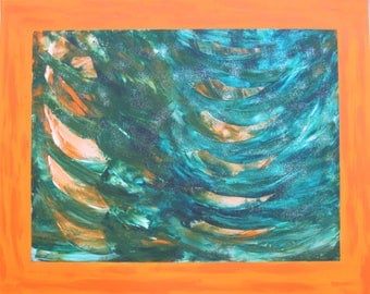 "Abstract painting-art-acrylic on canvas ""Orange Rhythm"""