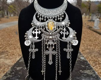 Medieval Gothic Tribal Captured Maiden Cross Bib Necklace
