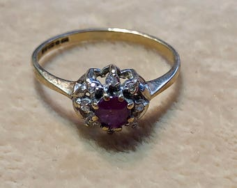 9ct Ruby with diamonds